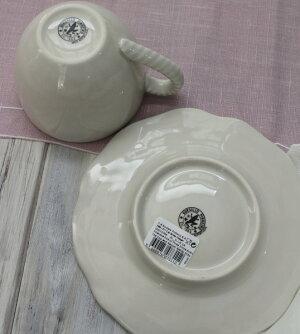 アンティークな輸入食器カップ&ソーサーC&S(リーフ&バード)ボルダロ・ピニェイロポルトガル製おしゃれシャビーシックアンティーク風洋食器