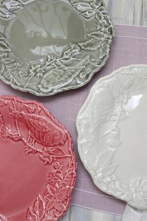 アンティークな輸入食器ケーキプレート22cmケーキ皿(リーフ&バード)ボルダロ・ピニェイロポルトガル製おしゃれシャビーシックアンティーク風洋食器