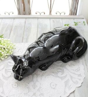 アンティークな黒猫の置物陶器製キャットオブジェボルダロ・ピニェイロポルトガル製おしゃれシャビーシックアンティーク風洋食器