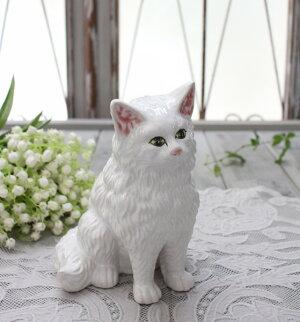 アンティークな猫の置物(ホワイト)陶器製キャットオブジェボルダロ・ピニェイロポルトガル製おしゃれシャビーシックアンティーク風洋食器