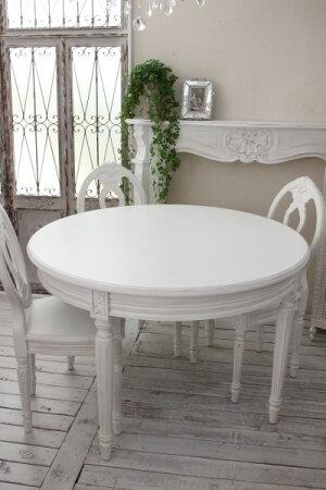 アンティークな木製ダイニングテーブル(アンティークホワイト)オーバル伸長式カントリーコーナーフレンチカントリーシャビーシックフランス白家具Gustavienコレクション送料無料