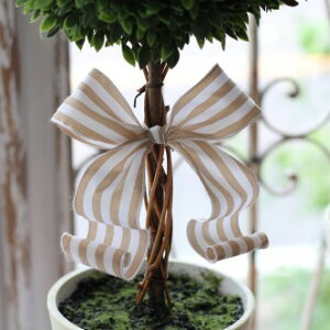 フランスリボン♪フレンチトピアリーLサイズオブジェ置物ツゲトピアリー造花トピアリーツゲ