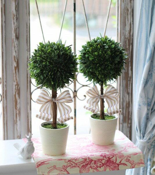 フランスリボン♪ フレンチトピアリー Sサイズ オブジェ 置物 ツゲトピアリー 造花 トピアリー ツゲ