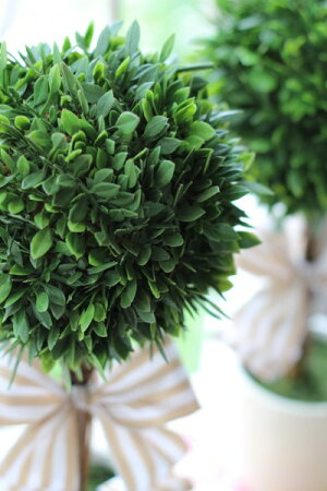 フランスリボン♪フレンチトピアリーSサイズオブジェ置物ツゲトピアリー造花
