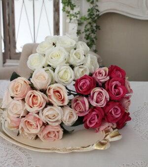 小ぶりで愛らしいプリンセスローズ(ホワイト・ピンク・モーブ)【シルクフラワー・アーティフィシャルフラワー】花束薔薇造花