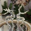 クリスマス 置物 アクリルディアーデコ2個セット 6107 トナカイの置物 鹿 オブジェ クリスマスツリー シャビーシック 北欧 フレ…