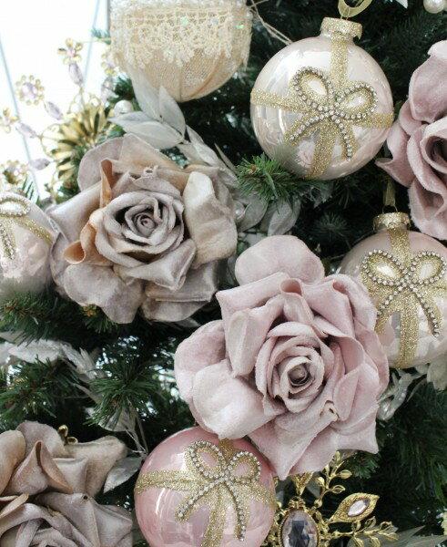 クリスマスオーナメント ローズ(ピンク・シャンパン)アンティーク風 シャビーシック 北欧 フレンチ ロマンティック 可愛い クリスマス飾り