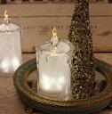 クリスマス置物 (アクリルライトキャンドルS LED)アンティーク風 シャビーシック 北欧 フレンチ ロマンティック 可愛い クリス…