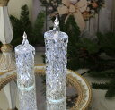 クリスマス置物 (アクリルダイヤモンドキャンドルL LED)アンティーク風 シャビーシック 北欧 フレンチ ロマンティック 可愛い …