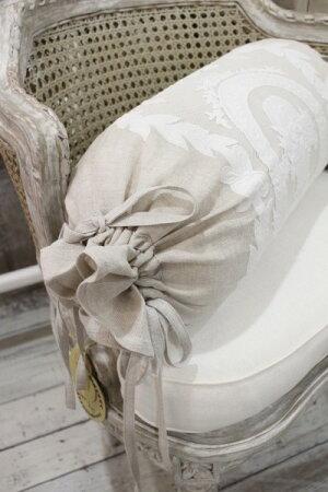 ★フランス直輸入★Coquecigruesコクシグルフランス★ボルスタークッション(ベージュ×ホワイト花かご)中綿付き筒型クッション輸入品シャビーシックアンティーク風フレンチカントリー