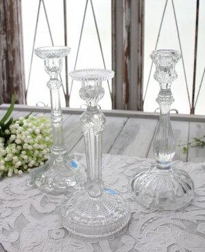 アンティーク風なガラス製キャンドルホルダー(クリア・透明)キャンドルスタンドポルトガル製おしゃれシャビーシック燭台