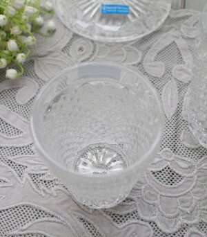 アンティーク風なガラス食器タンブラーS(ダイヤ柄・クリア)ガラスグラスコップポルトガル製おしゃれシャビーシック