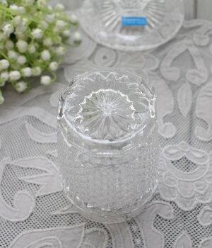 アンティーク風なガラス食器タンブラーM(ダイヤ柄・クリア)ガラスグラスコップポルトガル製おしゃれシャビーシック