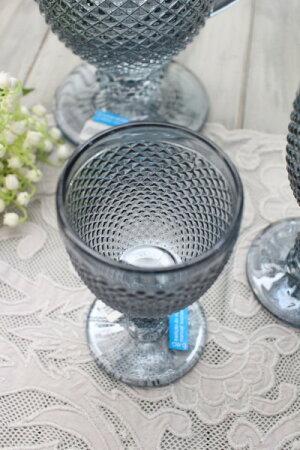 アンティーク風なガラス食器ワイングラスS(ダイヤ柄・ブルーグレー)ガラスグラスコップポルトガル製おしゃれシャビーシック