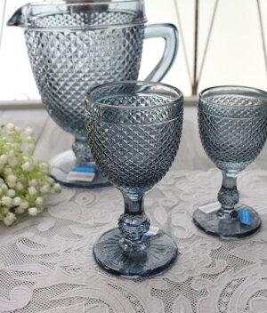 アンティーク風なガラス食器ワイングラスM(ダイヤ柄・ブルーグレー)ガラスグラスコップポルトガル製おしゃれシャビーシック