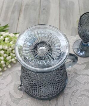 アンティーク風なガラス食器ピッチャー(ダイヤ柄・ブルーグレー)ガラス水差しジャグポルトガル製おしゃれシャビーシック