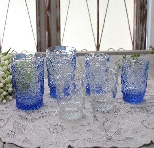 アンティーク風なガラス食器タンブラーM(フルーツ柄・ブルー)ガラスグラスコップポルトガル製おしゃれシャビーシック
