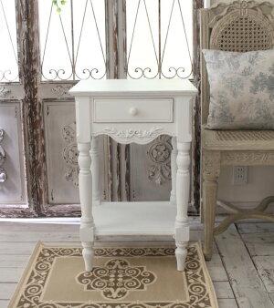 【CountryCorner】ROMANCEコレクションベッドサイドテーブル電話台白家具カントリーコーナー