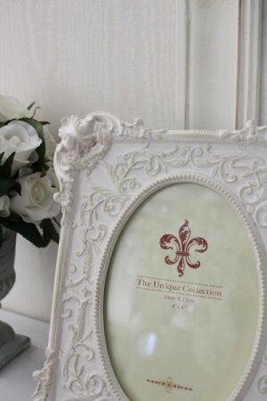 アンティークホワイトの写真立てレリーフフォトフォトフレームシャビーシックフレンチカントリーアンティーク雑貨姫系輸入雑貨antiqueshabbychic