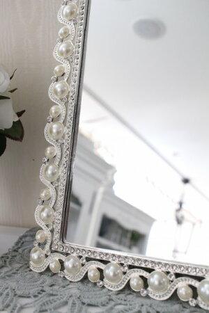 アンティーク風・雑貨(ジュエルミラー002)卓上ミラー壁掛けミラー鏡可愛いシャビーシックフレンチカントリーアンティーク雑貨姫系輸入雑貨antiqueshabbychic