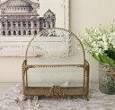 アンティーク 雑貨 (レターラック リボンゴールド 048)ゴールド 小物入れ アクセサリーケース ガラス おしゃれ アンティーク風 雑貨 …