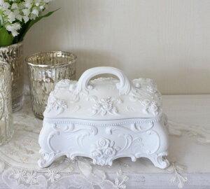 ローズロココジュエリーケースホワイト小物入れ白ボックス
