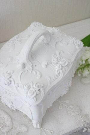 真っ白の可憐な存在感♪猫脚と薔薇のローズロココ・ジュエリーケースホワイト小物入れ白ボックス