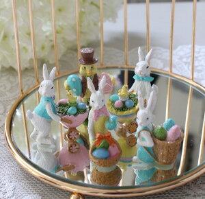 イースターバニー&バード ミニオブジェ5個セット (8415) イースター 飾り 置物 小鳥 ウサギ アンティーク風 アンティーク 雑貨 姫系 輸入雑貨 シャビーシック 可愛い