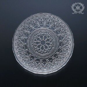 トルコ製の素敵なガラス食器 プレートMサイズ 1155 ガラスプレート 輸入食器 ガラス製 ケーキ皿 ディナー皿 おしゃれな食器 アンティーク風
