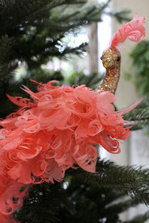 クリスマスオーナメント♪(ピンクスカイバード・ロングテール)鳥モチーフシャビーシック北欧フレンチロマンティック可愛いクリスマス飾りツリーオーナメントツリートップ