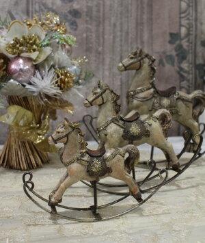 X'mas♪♪アンティークカラーのロッキングホースLオブジェクリスマスディスプレイシャビーシックフレンチカントリーアンティーク雑貨輸入雑貨antiqueshabbychic