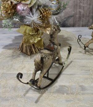 X'mas♪♪アンティークカラーのロッキングホースMオブジェクリスマスディスプレイシャビーシックフレンチカントリーアンティーク雑貨輸入雑貨antiqueshabbychic