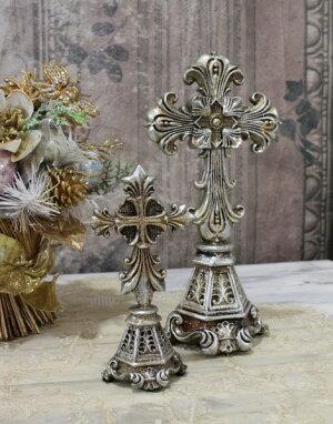 X'mas♪♪アンティークシルバーのクロスデコS十字架オブジェクリスマスディスプレイシャビーシックフレンチカントリーアンティーク雑貨輸入雑貨antiqueshabbychic