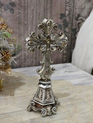X'mas♪♪アンティークシルバーのクロスデコL十字架オブジェクリスマスディスプレイシャビーシックフレンチカントリーアンティーク雑貨輸入雑貨antiqueshabbychic