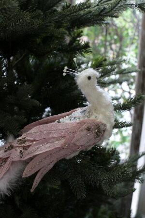X'masホワイトロゼ・ジュエルバードクリップ鳥モチーフシャビーシック北欧フレンチロマンティック可愛いクリスマス飾りツリーオーナメントツリー飾り
