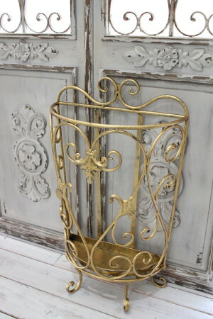 アンティーク風のお洒落な傘立て(半円・アラベスク)アンブレラスタンド傘立てゴールドアイアン製シャビーシックアンティーク雑貨アンティーク風輸入雑貨antiqueshabbychic
