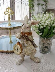 アリスラビットの置時計 置物 オブジェ 不思議の国のアリス ウサギ ディスプレイ シャビーシック フレンチカントリー アンティーク 雑貨 輸入雑貨 antique shabby chic