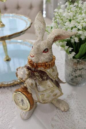 アリスラビットの置時計置物オブジェ不思議の国のアリスウサギディスプレイシャビーシックフレンチカントリーアンティーク雑貨輸入雑貨antiqueshabbychic