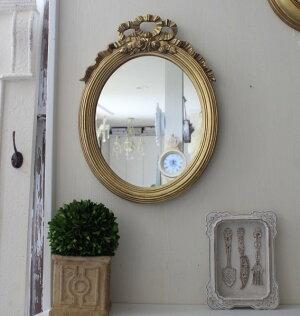 アンティーク風・壁掛けミラー(リボンミラーオーバルゴールド)壁掛けミラーシャビーシックフレンチカントリーアンティーク雑貨姫系輸入雑貨antiqueshabbychic