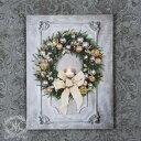 クリスマス雑貨 LEDウォールアートパネル・リボンリース(8110)壁飾り クリスマスツリー オブジェ クリスマス ディスプレイ 飾り シャ…