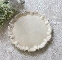 アンティークホワイト ラウンドトレイ フレンチトレー(8436) ディスプレイトレー ホワイト アンティーク風 アンティーク 雑貨 姫系 …