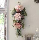 フラワーデコ・アジサイ ピンク(8396) 造花 壁掛け 紫陽花 スワッグ シルクフラワー アーティフィシャルフラワー ウォールデコ 壁飾り