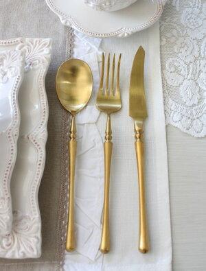 PARISディナーカトラリーゴールド(ナイフ・フォーク・スプーン)ステンレス製輸入食器カトラリーおしゃれゴールドシルバーヨーロピアンネコポス便OK