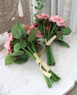 モーブミックス・ローズブーケ9輪【シルクフラワー・アーティフィシャルフラワー】ピンクパープルワイン薔薇造花