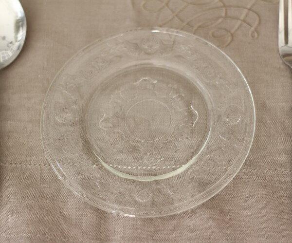 【La Rochere】 フランス ラロシェール社製 エレガントに輝くブレッドプレート15cm ケーキ皿 ヴェルサイユ ガラス食器 フランス製
