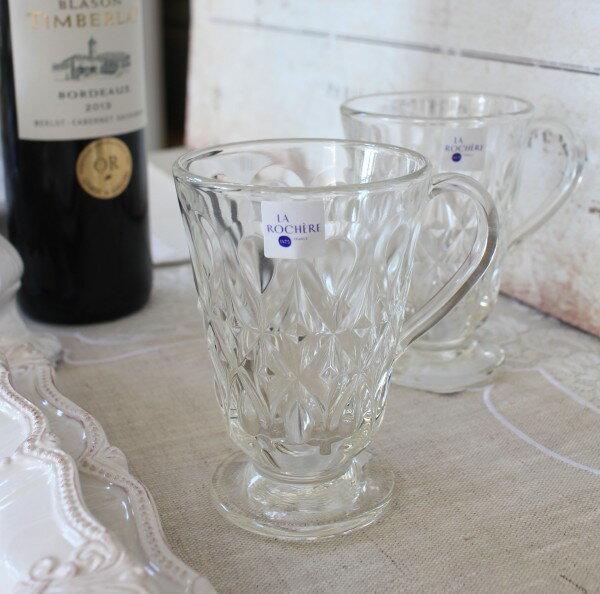 【La Rochere】 フランス ラロシェール社製 エレガントに輝くガラス製マグカップ260cc リヨネ(クリア) ウォーターグラス タンブラー ガラス食器 持ち手付き フランス製