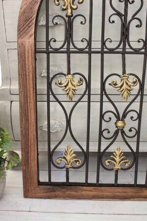 【予約注文品】アイアンパネル(1351043)アンティーク風仕上げアイアン&ウッドのアイアンウォールオブジェ壁飾りウォールパネルアイアンフェンストレリス姫系アンティーク雑貨antique