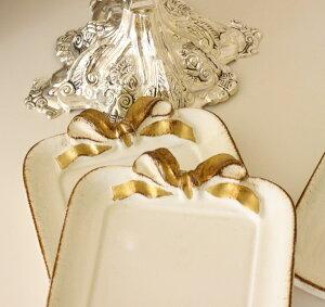 イタリア製SOLDIスクエアコースターリボンホワイト×ゴールドリボントレイ