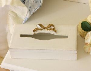 イタリア製SOLDIリボンティッシュボックス木製ホワイト×ゴールドリボン