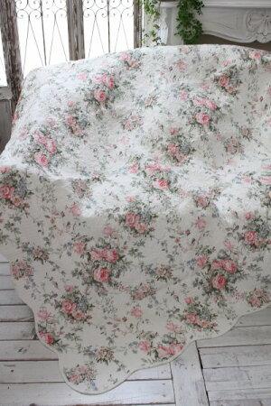 トリアノンフラワーキルト(140×200)リバーシブルキルトラグキルティングスローキルティングマルチカバーキルティングラグ敷物布製フレンチカントリーシャビーシック綿100%